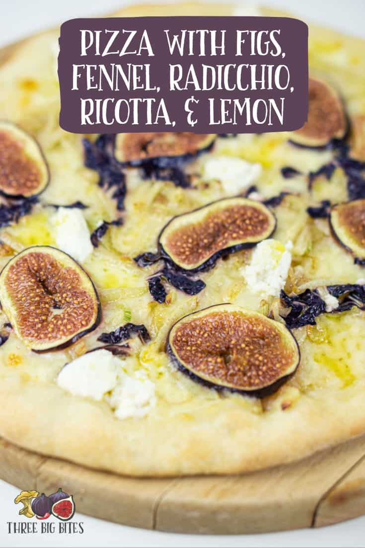 Make this gourmet pizza at home! Sweet figs, bitter radicchio, tangy lemon, & mellow ricotta come together beautifully into a complex whole. || homemade pizza | pizza ideas | pizza inspiration | pizza with figs | pizza with radicchio | gourmet pizza | creative pizza || #homemade #pizza #recipe #infusedoil #lemonoil