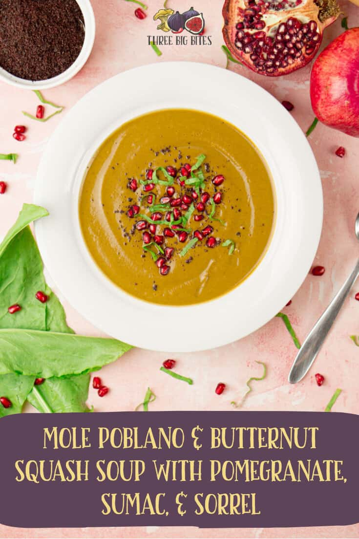 Mexican-inspired autumn soup recipe with mole poblano, butternut squash, pomegranate, sumac, & sorrel - perfect for cool autumn days! || autumn soup | autumn recipe | fall soup | fall recipe | fall recipes dinner | fall recipes appetizers | fall recipes vegetarian | autumn recipes dinner | autumn recipes vegetarian || #soups