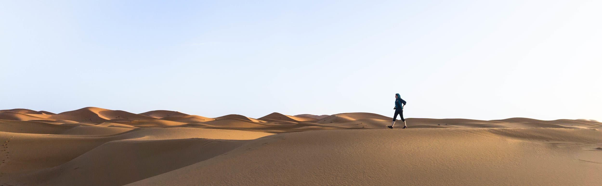 A sunrise walk through the Sahara.