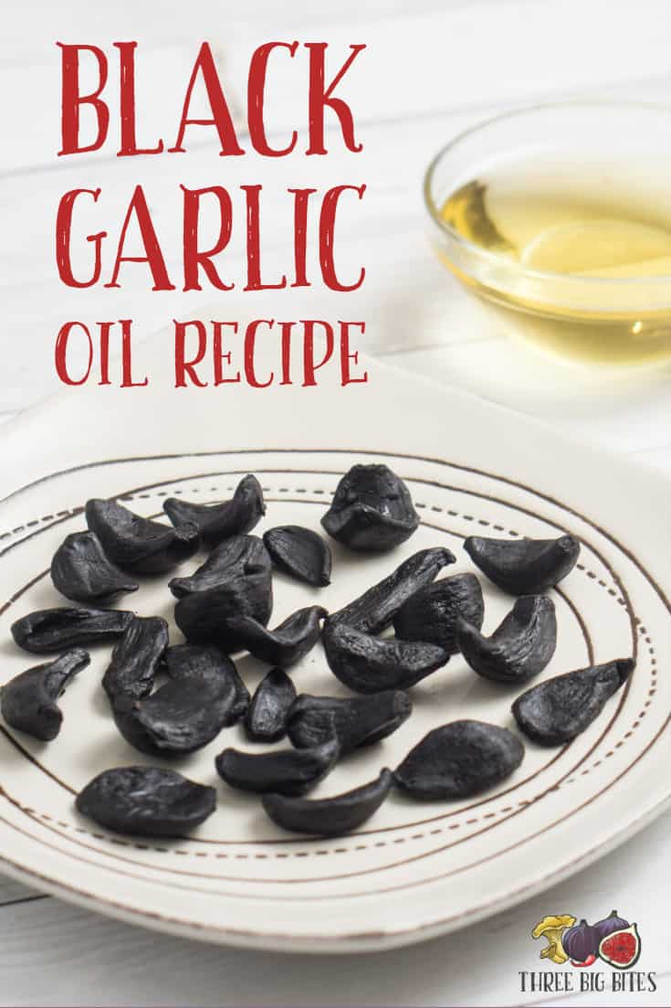 Learn from this black garlic oil recipe how to infuse oil with the incredible and unique flavor of sweet black garlic!    black garlic oil   black garlic recipe   infused oil   infused oil tutorial   make infused oil   black garlic uses   black garlic ideas   black garlic recipes    #blackgarlic #infusedoil