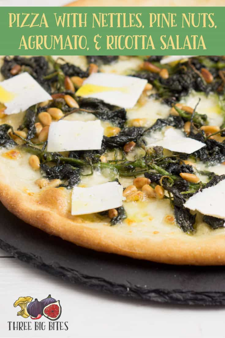 Enjoy nettles season by bringing out their flavor with rich pine nuts, lemony olive oil, and salty cheese on this homemade pizza. || homemade pizza recipe | homemade pizza toppings | gourmet pizza | gourmet pizza toppings | gourmet pizza ideas | gourmet pizza recipes | artisan pizza | gourmet vegetarian pizza | gourmet pizza homemade || #pizzas #seasonalpizzas