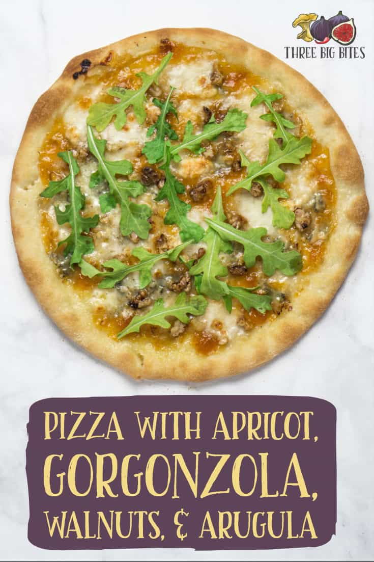 Make this gourmet pizza with sweet apricot, tangy gorgonzola, and delicious walnuts & arugula to impress your guests! || gourmet pizza | unusual pizza toppings | interesting pizza | homemade pizza || #pizza #homemade #recipe
