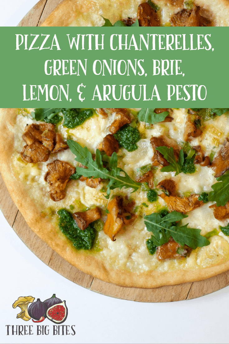 This gourmet pizza features earthy chanterelles, creamy brie, and bright lemon zest. Yum! || creative pizza recipes | unusual pizza toppings | homemade pizza recipe || #vegetarianpizza #gourmetpizza #pizza
