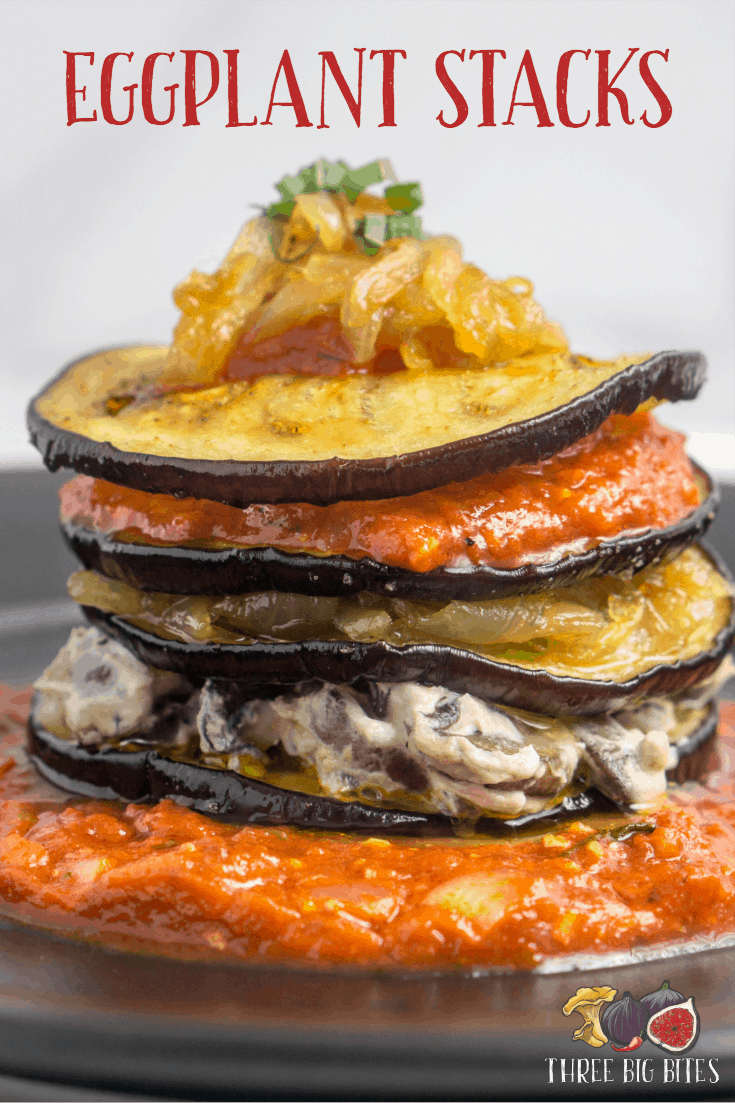 Try this gourmet vegetarian recipe that combines bright goat cheese, earthy mushrooms, and sweet caramelized onions. || interesting vegetarian recipes | vegetarian recipes with eggplant || #eggplant #goatcheese #caramelizedonions